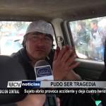 Sujeto ebrio provoca accidente y deja cuatro heridos