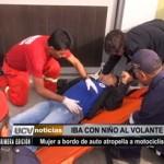Conductora atropella a motociclista y lo deja herido