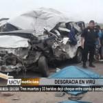 Tres muertos y 33 heridos dejó choque entre combi y ómnibus