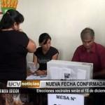 Elecciones vecinales serán el 15 de diciembre