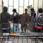 250 menores detenidos por infracción a la ley