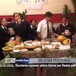 Escolares exponen platos típicos por Fiestas Patrias