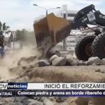 Colocan piedra y arena en borde ribereño de Huanchaco