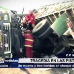 Choque de camiones deja un muerto y tres heridos