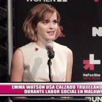 Emma Watson usa calzado trujillano durante su labor social en Malawi