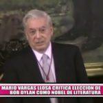 Mario Vargas Llosa critica elección de Bob Dylan como Nobel de Literatura