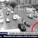 Víctor Larco: Cámaras captan a camioneta que impacta contra un motociclista