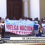 Chiclayo: Trabajadores estatales se desangraron en protesta frente a Catedral