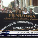 Trujillo: FENUTSSA, CITE y FENTASE se unieron para protestar en Plaza Mayor
