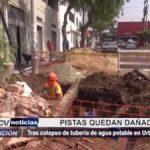 Trujillo: Pistas dañadas tras colapso de tubería en urbanización Los Jardines