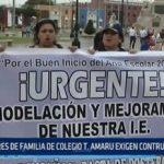 Trujillo: Padres de familia del colegio Túpac Amaru exigen construcción de aulas