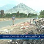Acumulación de basura en campiña de Moche