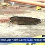 Trujillo: Rotura de tubería genera un forado en pista de urbanización Santa María