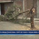 Trujillo: Celebran tradicional corte de yunza y dejan árbol en la pista