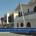 Huanchaco: Postes en mal estado ponen en peligro a transeúntes