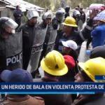 Shorey: Un herido de bala en violenta protesta de mineros