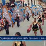 Cajabambinos anuncian fiesta de carnaval para el 11 y 12 de marzo