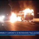 Chao: Ómnibus y camioneta se incendiaron tras colisionar en Chao