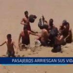 Chimbote: Personas arriesgan sus vidas para cruzar río