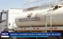 El Milagro: Siguen llevando agua a familias de la zona