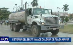 Trujillo: Cisterna del SEGAT invade calzada de Plaza Mayor