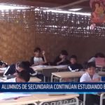Chimbote: Alumnos de secundaria continúan estudiando en esteras