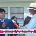 Morgan Freeman entrevistó a Evo Morales para un reportaje de National Geographic