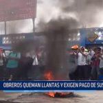 Iquitos: Obreros queman llantas y exigen pago de sus sueldos