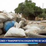 Trujillo: Vecinos y transportistas exigen retiro de sacos de arena