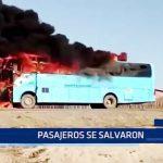 Piura: Pasajeros se salvan de un fatídico incendio de bus