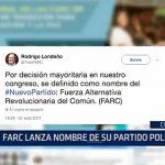Colombia: FARC lanza nombre de su partido político