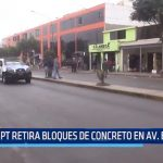Municipalidad Provincial de Trujillo retira bloques de concreto de avenida España