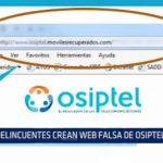 Delincuentes crean web falsa de Osiptel