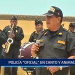 Suboficial de la Policía destaca en canto y animación
