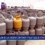 Balón de gas deberá contener etiquetado de especificación