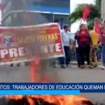 Iquitos: Trabajadores de educación queman llantas