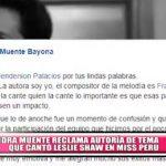 Sandra Muente reclama autoría de tema que cantó Leslie Shaw en Miss Perú