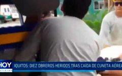 Iquitos: Diez obreros heridos tras caída de cuneta aérea