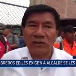Piura: Obreros ediles exigen a alcaldes se les pague