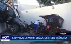 Piura: Salvaron de morir en accidente de tránsito
