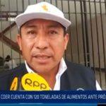 Chiclayo: COER cuenta  con 120 toneladas de alimentos ante lluvias