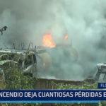 Florencia de Mora: Incendio deja cuantiosas pérdidas en taller