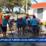 Piura: Ruptura de tubería en Castilla causa congestionamiento vehicular