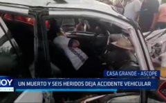 Trujillo: Un muerto y seis heridos deja accidente vehicular