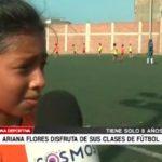 Ariana Flores disfruta de sus clases de fútbol