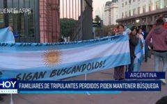 Argentina: Familiares de tripulantes perdidos piden mantener búsqueda