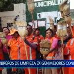 Piura: Obreros de limpieza protestan por mejores condiciones de trabajo y pagos