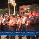 Vigilia por Policía herido en asalto