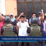 Chiclayo : Trabajadores de Pucalá protestan en Juzgado Civil