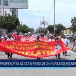 Chiclayo : Profesores acatan paro de 24 horas de manera parcial